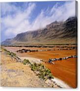 Famara Cliffs And Salinas Del Rio On Lanzarote Canvas Print