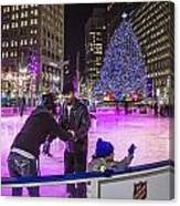 Family At Detroit Ice Rink   Canvas Print