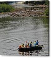 Family Canoeing At Lower Tahquamenon Falls Canvas Print