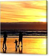Family In The Yellow Spotlight Canvas Print