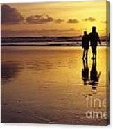 Family On Beach With Dog Sunset Canvas Print