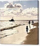 Family On Sunset Beach Canvas Print
