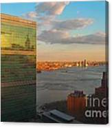 United Nations Secretariat With Chrysler Building Reflection Canvas Print