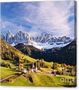 Famous View St Magdalena With Odle Mountains In The Dolomites Italy Canvas Print