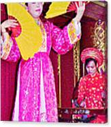 Fan Dancer And Monochord Player In Court Music Show At Citadel Of Nguyen Dynasty In Hue-vietnam Canvas Print