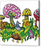 Fanciful Mushroom Nature Doodle Canvas Print