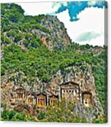 Fancy Tomb Carvings At The Top In Daylan-turkey Canvas Print