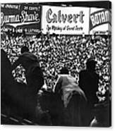 Fans In The Bleachers During A Baseball Game At Yankee Stadium Canvas Print