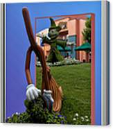 Fantasia Mickey And Broom Floral Walt Disney World Hollywood Studios Canvas Print