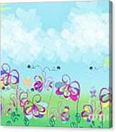 Fantasy Flower Garden - Childrens Digital Art Canvas Print