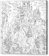 Fantasy Landscape. Fairy Tale Castle On Canvas Print