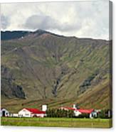 Farm At Eyjafjallajokull Glacier. Canvas Print