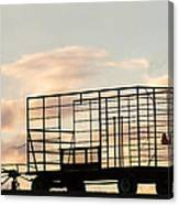 Farm Equipment At Sunset Canvas Print