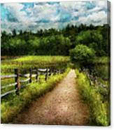 Farm - Fence - Every Journey Starts With A Path  Canvas Print