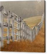 Farm Fence On Foggy Autumn Day Canvas Print