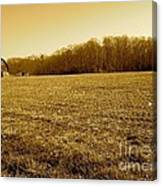 Farm Field With Old Barn In Sepia Canvas Print