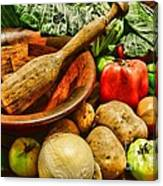 Farm Fresh Food In A Country Kitchen Canvas Print