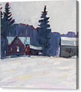 Farm In The Snow Canvas Print