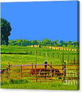 Farm Photo Digital Paint Style Canvas Print