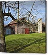 Farm Scene With Barns And Silo Canvas Print