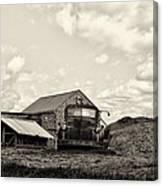 Farm Truck - 1941 Chevy In Sepia Canvas Print