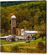 Farm View With Mountains Landscape Canvas Print