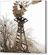 Farm Windmill In Sepia Canvas Print