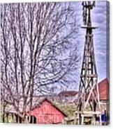 Farm - Windmill - Red Barn Farm - Missouri Canvas Print