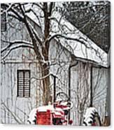 Farmall Tractor In Winter Canvas Print