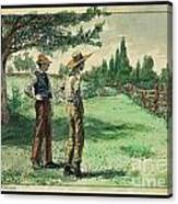 Farmers In Pasture With Trees 1885 Hand Tinted Etching  Canvas Print