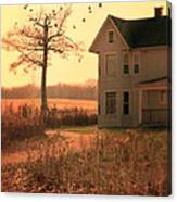Farmhouse By Tree Canvas Print