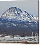Farmland Under The Mountain Canvas Print