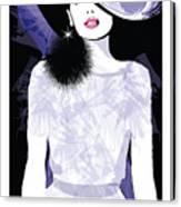 Fashion Woman Model With A Black Hat - Canvas Print