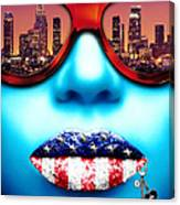 Fashionista Los Angeles Silver Canvas Print