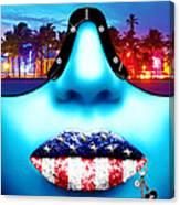 Fashionista Miami Blue Canvas Print