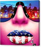 Fashionista Miami Pink Canvas Print