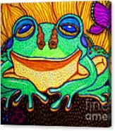 Fat Green Frog On A Sunflower Canvas Print