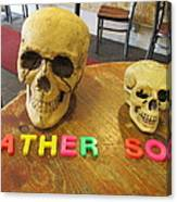 Father And Son - Toy Skulls At The Cafe Canvas Print