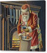 Father Christmas Filling Children's Stockings Canvas Print