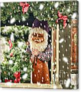 Father Christmas In The Snow Canvas Print