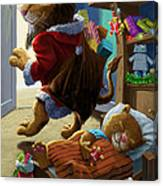 Father Christmas Lion Delivering Presents Canvas Print