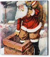 Father Christmas Popping Down The Chimney To Deliver Gifts To The Good.  Canvas Print
