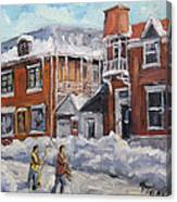 Faubourg A Melasse Montreal - Joys Of Winter By Prankearts Canvas Print
