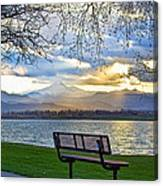 Favorite Bench And Lake View Canvas Print