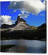 Federa Lake Lago Federa And Peak Of Canvas Print
