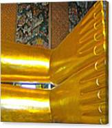 Feet Of Reclining Buddha In Wat Po In Bangkok-thailand Canvas Print