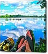 Feet Up Fishing Crab Orchard Lake Canvas Print