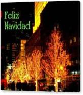 Feliz Navidad - Merry Christmas In New York - Trees And Star Holiday And Christmas Card Canvas Print