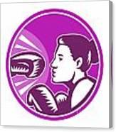 Female Boxer Punch Retro Canvas Print