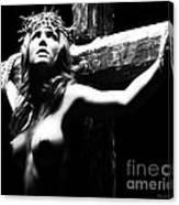 Female Christ Black And White Canvas Print